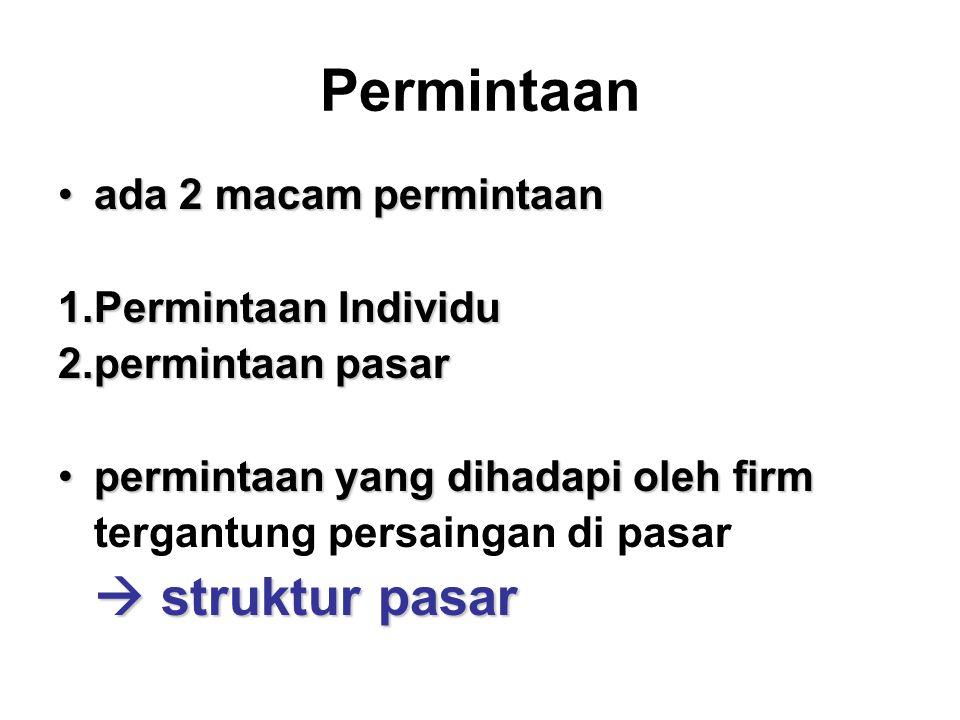 Permintaan ada 2 macam permintaanada 2 macam permintaan 1.Permintaan Individu 2.permintaan pasar permintaan yang dihadapi oleh firmpermintaan yang dihadapi oleh firm tergantung persaingan di pasar  struktur pasar