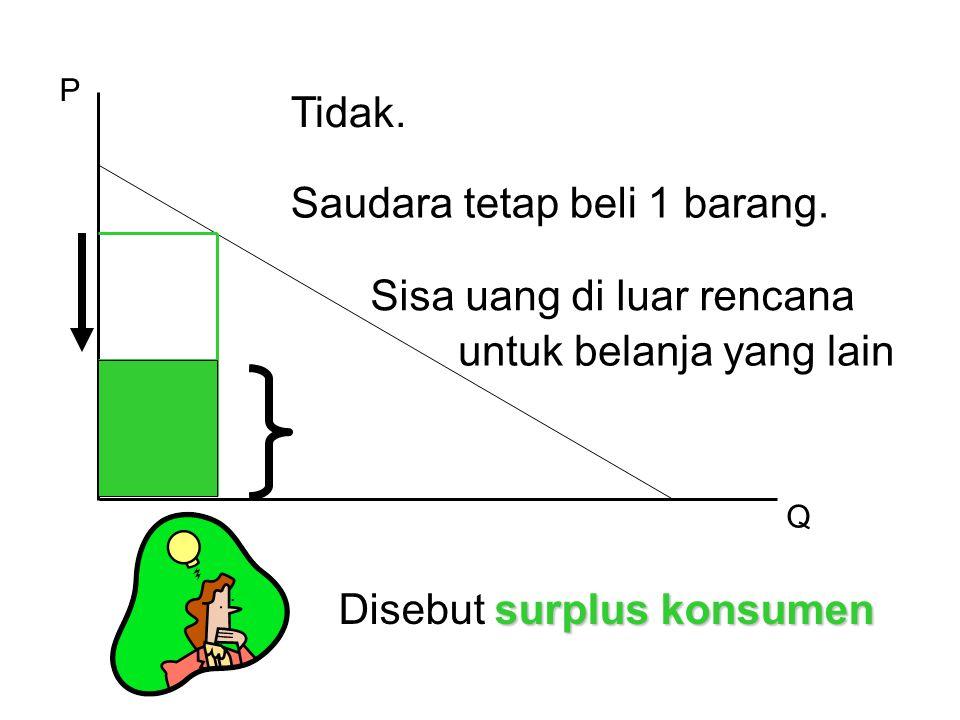 P Q Tidak. Saudara tetap beli 1 barang. Sisa uang di luar rencana untuk belanja yang lain surplus konsumen Disebut surplus konsumen