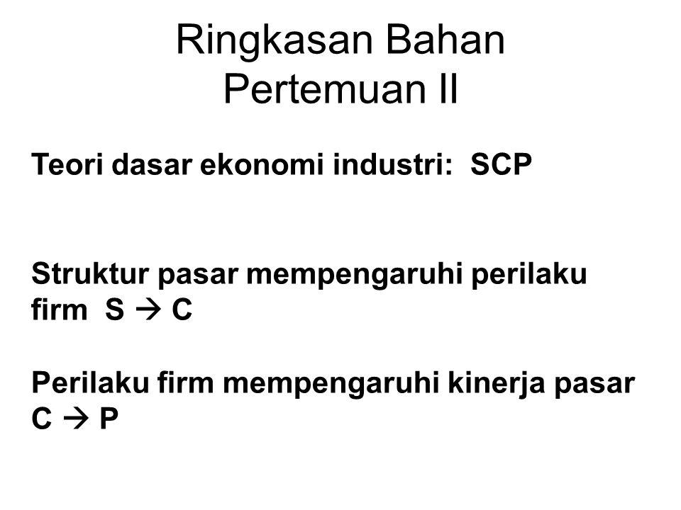 Ringkasan Bahan Pertemuan II Teori dasar ekonomi industri: SCP Struktur pasar mempengaruhi perilaku firm S  C Perilaku firm mempengaruhi kinerja pasar C  P