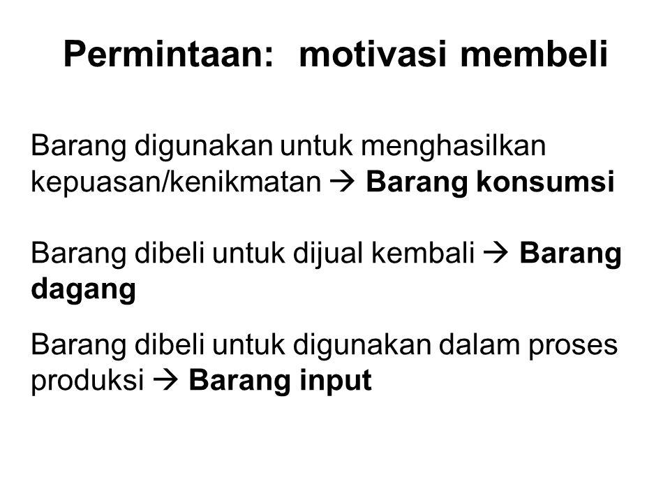 Permintaan: motivasi membeli Barang digunakan untuk menghasilkan kepuasan/kenikmatan  Barang konsumsi Barang dibeli untuk dijual kembali  Barang dag