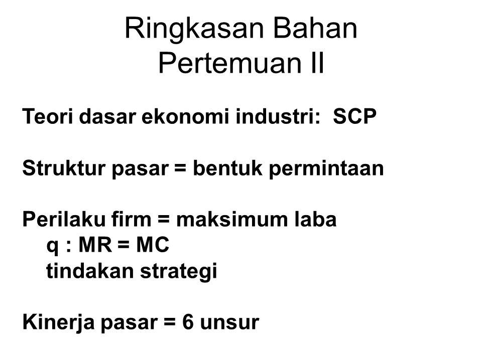 Ringkasan Bahan Pertemuan II Teori dasar ekonomi industri: SCP Struktur pasar = bentuk permintaan Perilaku firm = maksimum laba q : MR = MC tindakan strategi Kinerja pasar = 6 unsur