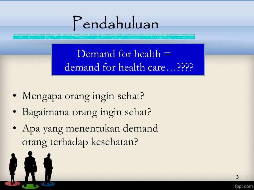 3 Pendahuluan Demand for health = demand for health care…???? Mengapa orang ingin sehat? Bagaimana orang ingin sehat? Apa yang menentukan demand orang