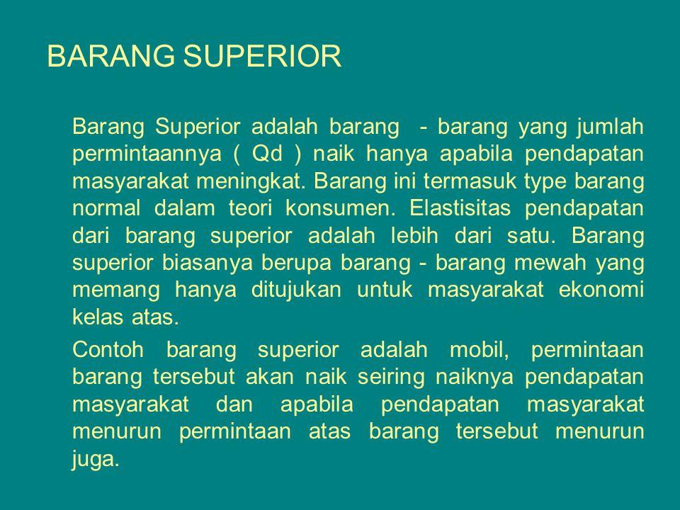 BARANG SUPERIOR Barang Superior adalah barang - barang yang jumlah permintaannya ( Qd ) naik hanya apabila pendapatan masyarakat meningkat. Barang ini