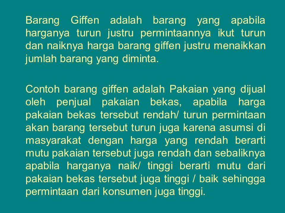 Barang Giffen adalah barang yang apabila harganya turun justru permintaannya ikut turun dan naiknya harga barang giffen justru menaikkan jumlah barang