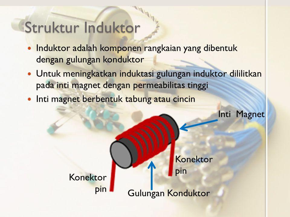 Struktur Induktor Induktor adalah komponen rangkaian yang dibentuk dengan gulungan konduktor Untuk meningkatkan induktasi gulungan induktor dililitkan