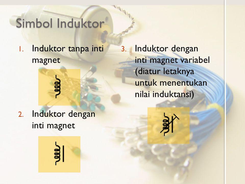 Simbol Induktor 1. Induktor tanpa inti magnet 2. Induktor dengan inti magnet 3. Induktor dengan inti magnet variabel (diatur letaknya untuk menentukan
