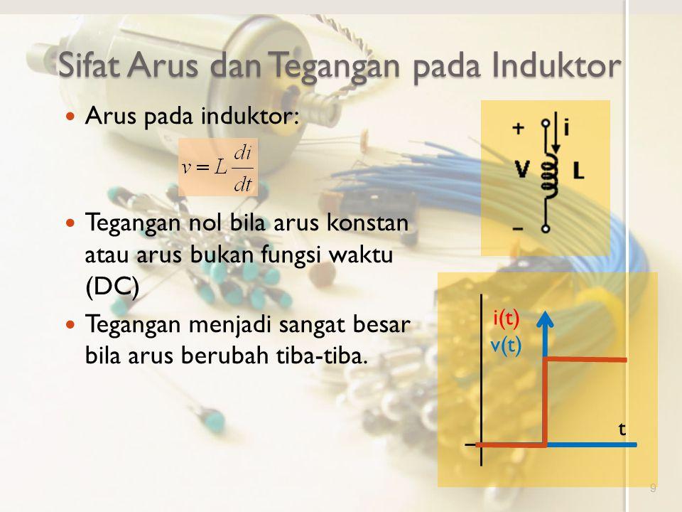 Sifat Arus dan Tegangan pada Induktor 9 Arus pada induktor: Tegangan nol bila arus konstan atau arus bukan fungsi waktu (DC) Tegangan menjadi sangat b