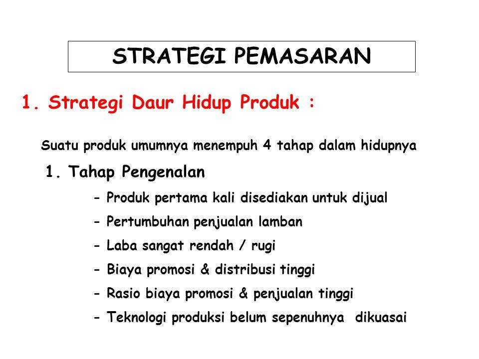 STRATEGI PEMASARAN 1. Strategi Daur Hidup Produk : Suatu produk umumnya menempuh 4 tahap dalam hidupnya 1. Tahap Pengenalan - Produk pertama kali dise