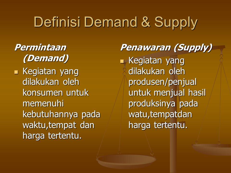 Definisi Demand & Supply Permintaan (Demand) Kegiatan yang dilakukan oleh konsumen untuk memenuhi kebutuhannya pada waktu,tempat dan harga tertentu. K