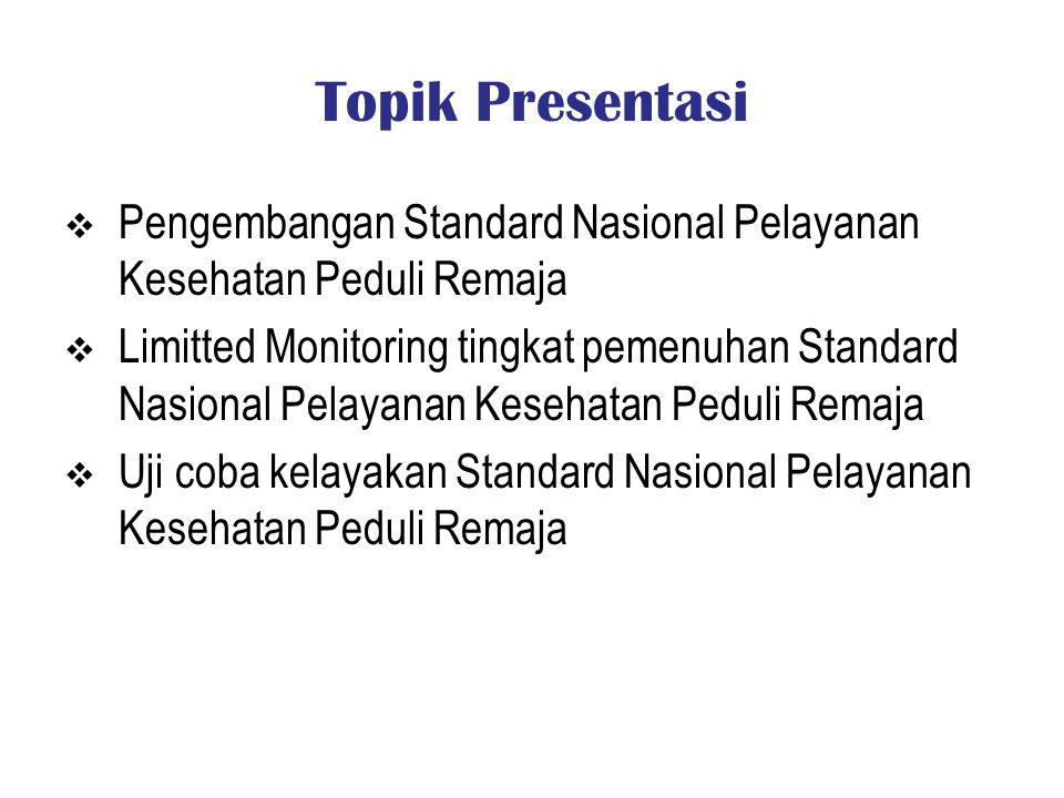 Topik Presentasi  Pengembangan Standard Nasional Pelayanan Kesehatan Peduli Remaja  Limitted Monitoring tingkat pemenuhan Standard Nasional Pelayana
