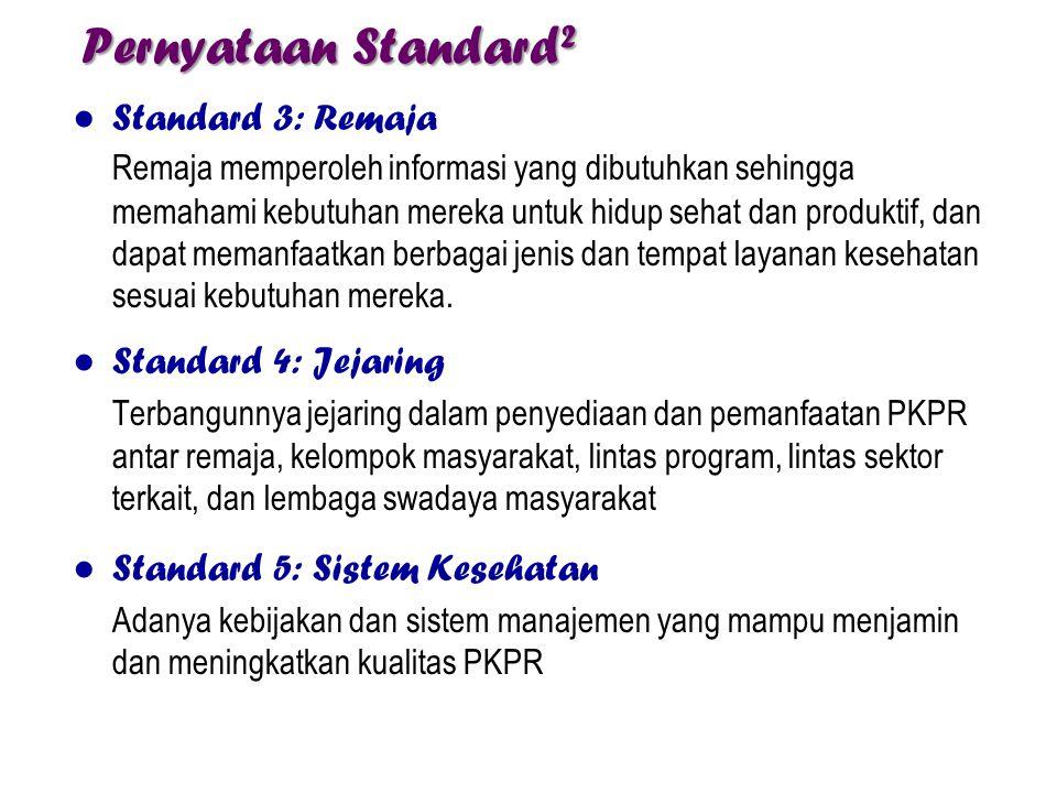 Pernyataan Standard 2 ● Standard 3: Remaja Remaja memperoleh informasi yang dibutuhkan sehingga memahami kebutuhan mereka untuk hidup sehat dan produk