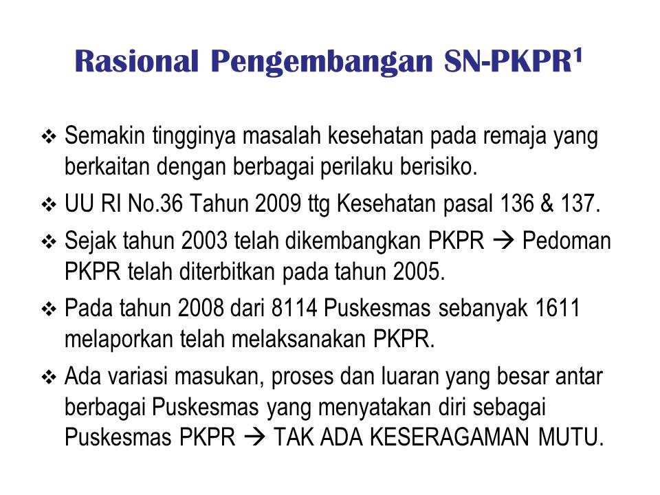 Rasional Pengembangan SN-PKPR 1  Semakin tingginya masalah kesehatan pada remaja yang berkaitan dengan berbagai perilaku berisiko.  UU RI No.36 Tahu
