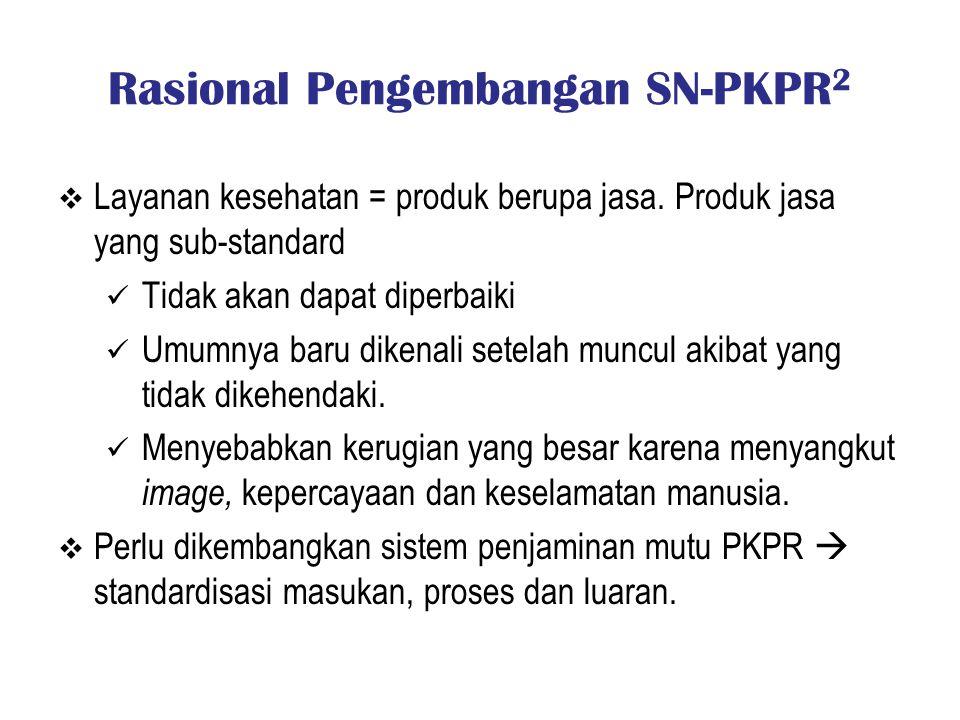 Rasional Pengembangan SN-PKPR 2  Layanan kesehatan = produk berupa jasa. Produk jasa yang sub-standard Tidak akan dapat diperbaiki Umumnya baru diken