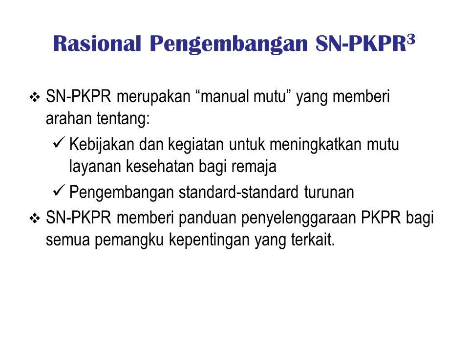 """Rasional Pengembangan SN-PKPR 3  SN-PKPR merupakan """"manual mutu"""" yang memberi arahan tentang: Kebijakan dan kegiatan untuk meningkatkan mutu layanan"""