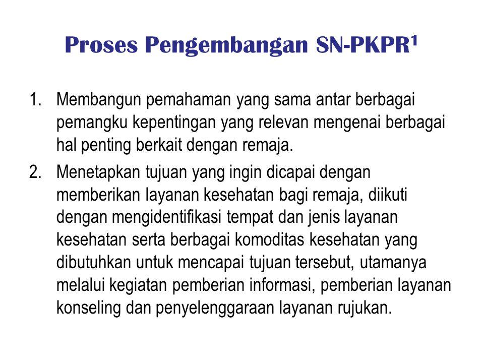 Proses Pengembangan SN-PKPR 1 1.Membangun pemahaman yang sama antar berbagai pemangku kepentingan yang relevan mengenai berbagai hal penting berkait d
