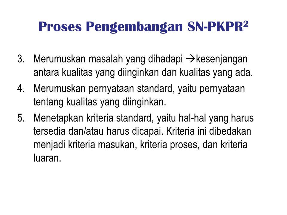 Proses Pengembangan SN-PKPR 2 3.Merumuskan masalah yang dihadapi  kesenjangan antara kualitas yang diinginkan dan kualitas yang ada. 4.Merumuskan per