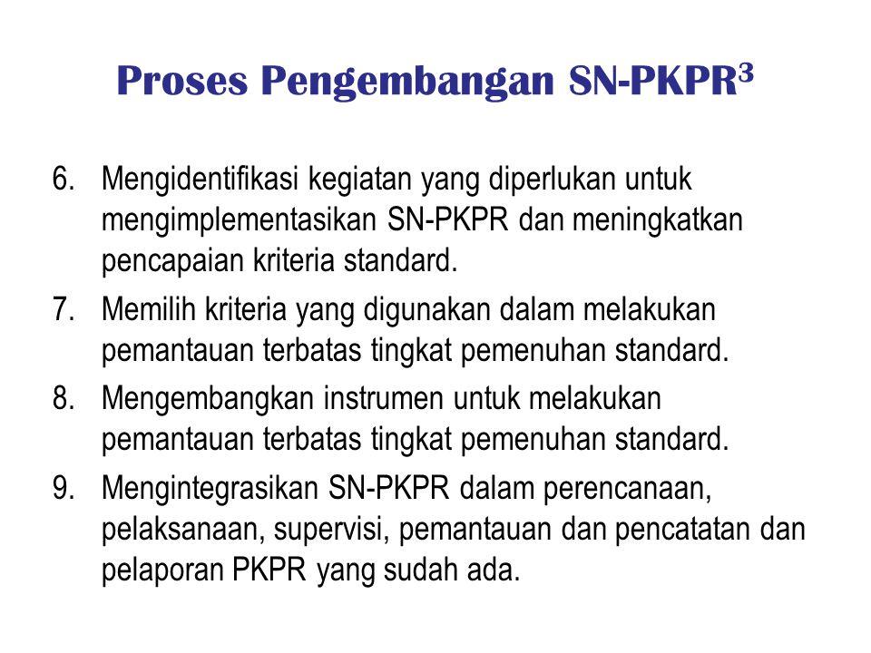 Proses Pengembangan SN-PKPR 3 6.Mengidentifikasi kegiatan yang diperlukan untuk mengimplementasikan SN-PKPR dan meningkatkan pencapaian kriteria stand