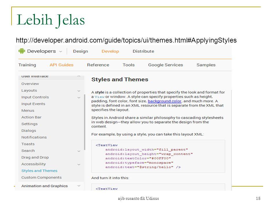 ajib susanto fik Udinus 18 Lebih Jelas http://developer.android.com/guide/topics/ui/themes.html#ApplyingStyles