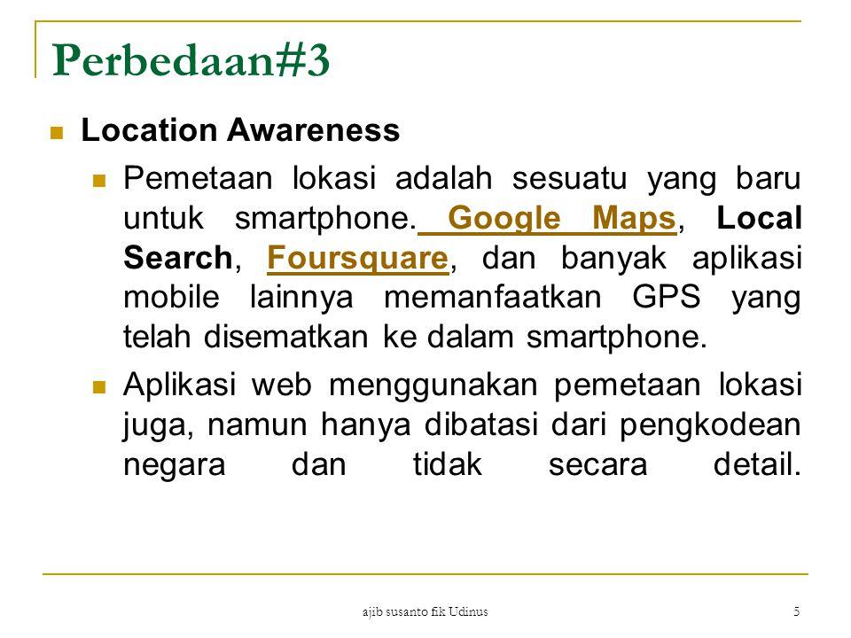 ajib susanto fik Udinus 5 Perbedaan#3 Location Awareness Pemetaan lokasi adalah sesuatu yang baru untuk smartphone.