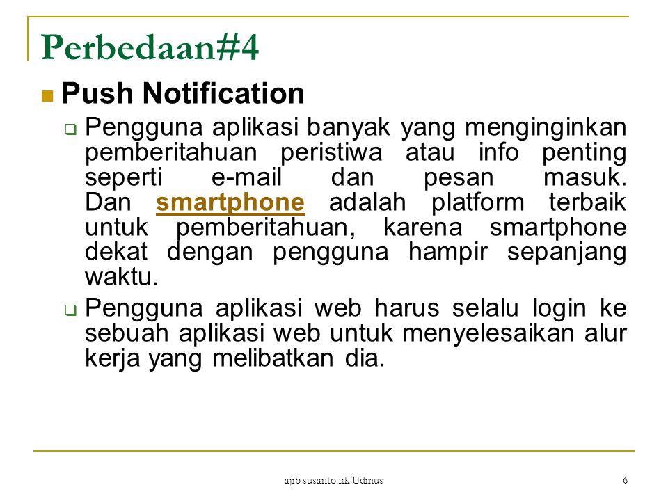 ajib susanto fik Udinus 6 Perbedaan#4 Push Notification  Pengguna aplikasi banyak yang menginginkan pemberitahuan peristiwa atau info penting seperti e-mail dan pesan masuk.