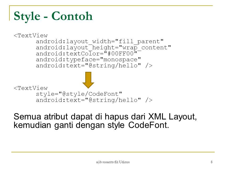 ajib susanto fik Udinus 8 Style - Contoh Semua atribut dapat di hapus dari XML Layout, kemudian ganti dengan style CodeFont.