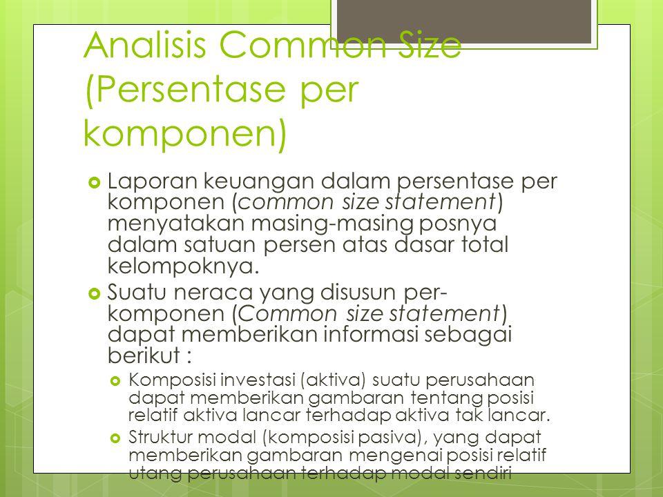 Analisis Common Size (Persentase per komponen)  Laporan keuangan dalam persentase per komponen (common size statement) menyatakan masing-masing posny