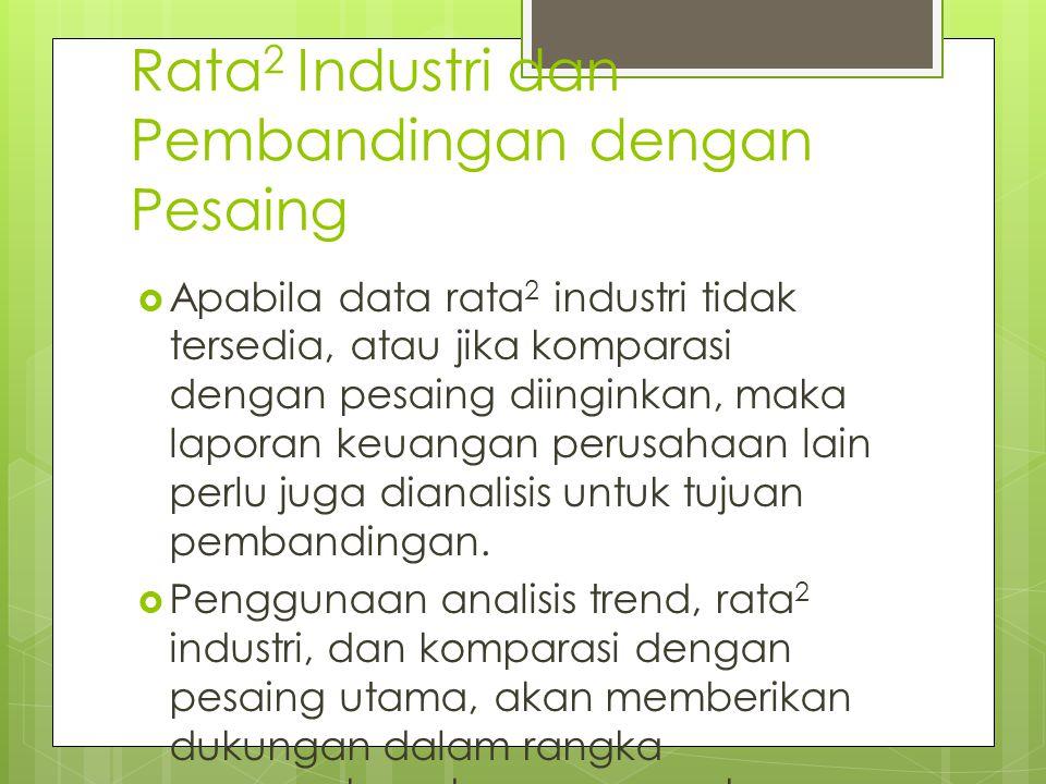 Rata 2 Industri dan Pembandingan dengan Pesaing  Apabila data rata 2 industri tidak tersedia, atau jika komparasi dengan pesaing diinginkan, maka lap