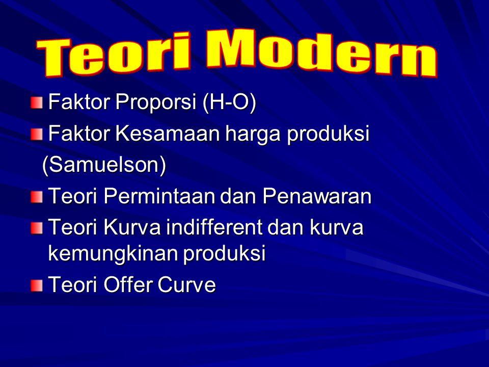 Faktor Proporsi (H-O) Faktor Kesamaan harga produksi (Samuelson) (Samuelson) Teori Permintaan dan Penawaran Teori Kurva indifferent dan kurva kemungki