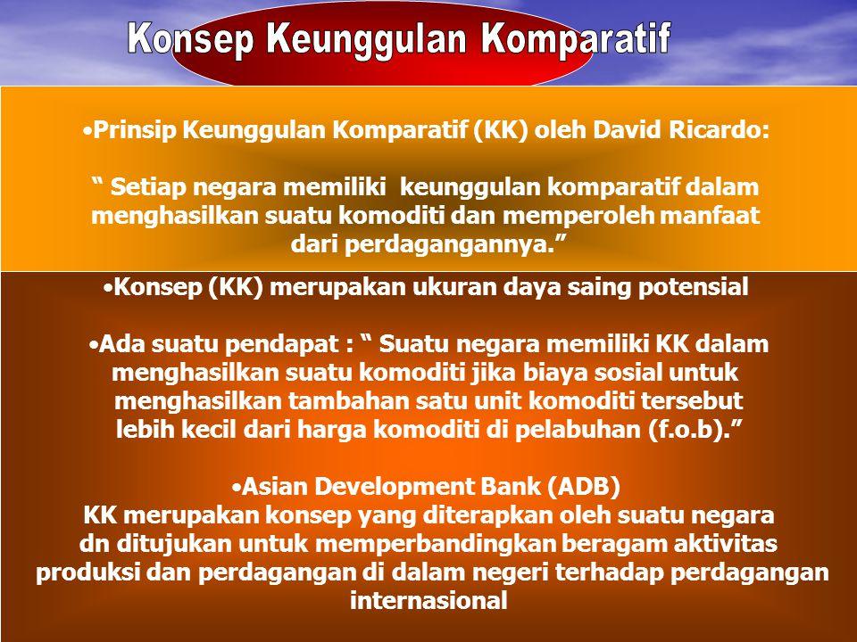 """Prinsip Keunggulan Komparatif (KK) oleh David Ricardo: """" Setiap negara memiliki keunggulan komparatif dalam menghasilkan suatu komoditi dan memperoleh"""