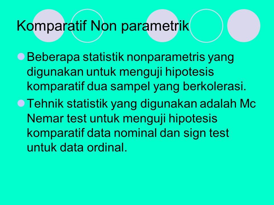 Komparatif Non parametrik Beberapa statistik nonparametris yang digunakan untuk menguji hipotesis komparatif dua sampel yang berkolerasi.