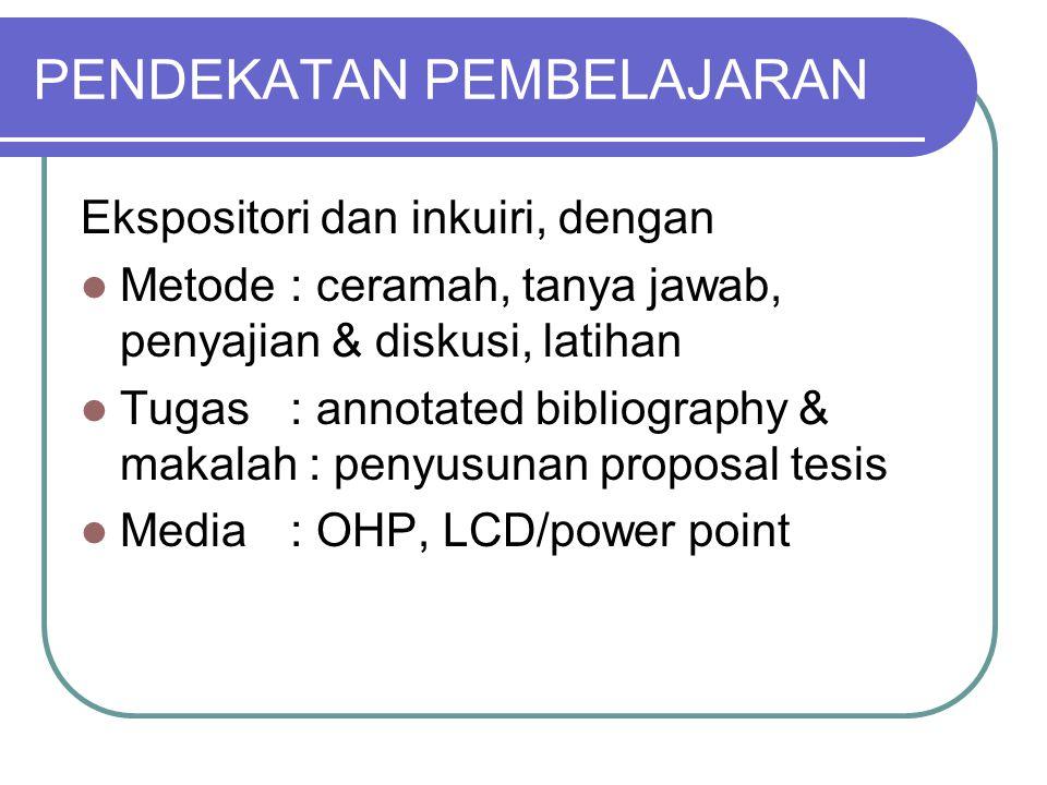 EVALUASI Kehadiran Penyajian & diskusi Annotated Bibliography Makalah/proposal UTS UAS
