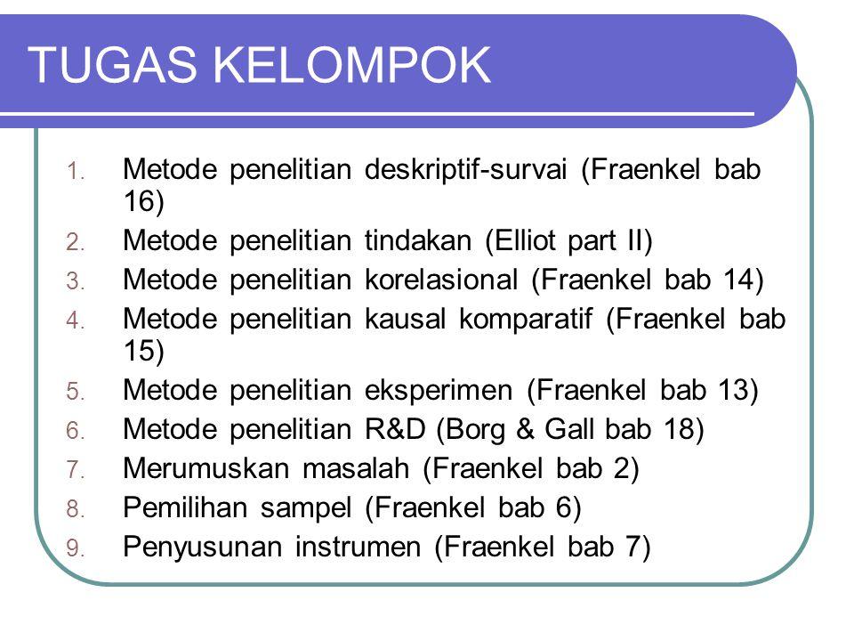 TUGAS KELOMPOK 1. Metode penelitian deskriptif-survai (Fraenkel bab 16) 2. Metode penelitian tindakan (Elliot part II) 3. Metode penelitian korelasion