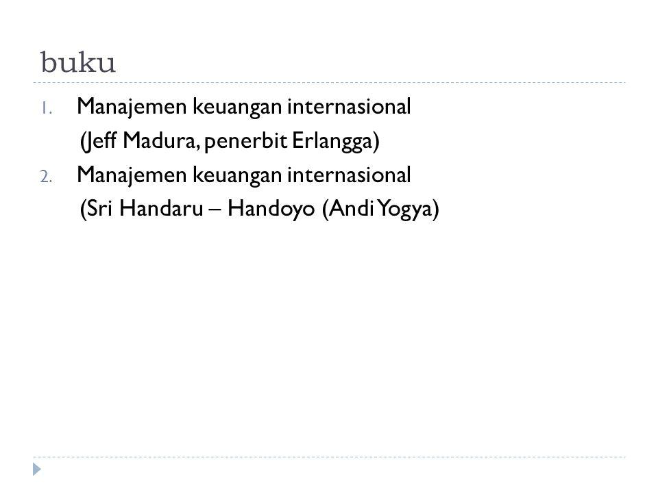 buku 1. Manajemen keuangan internasional (Jeff Madura, penerbit Erlangga) 2. Manajemen keuangan internasional (Sri Handaru – Handoyo (Andi Yogya)