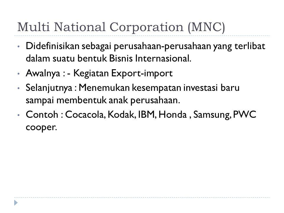 Multi National Corporation (MNC) Didefinisikan sebagai perusahaan-perusahaan yang terlibat dalam suatu bentuk Bisnis Internasional. Awalnya : - Kegiat