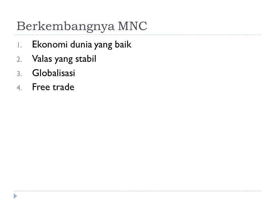 Berkembangnya MNC 1. Ekonomi dunia yang baik 2. Valas yang stabil 3. Globalisasi 4. Free trade