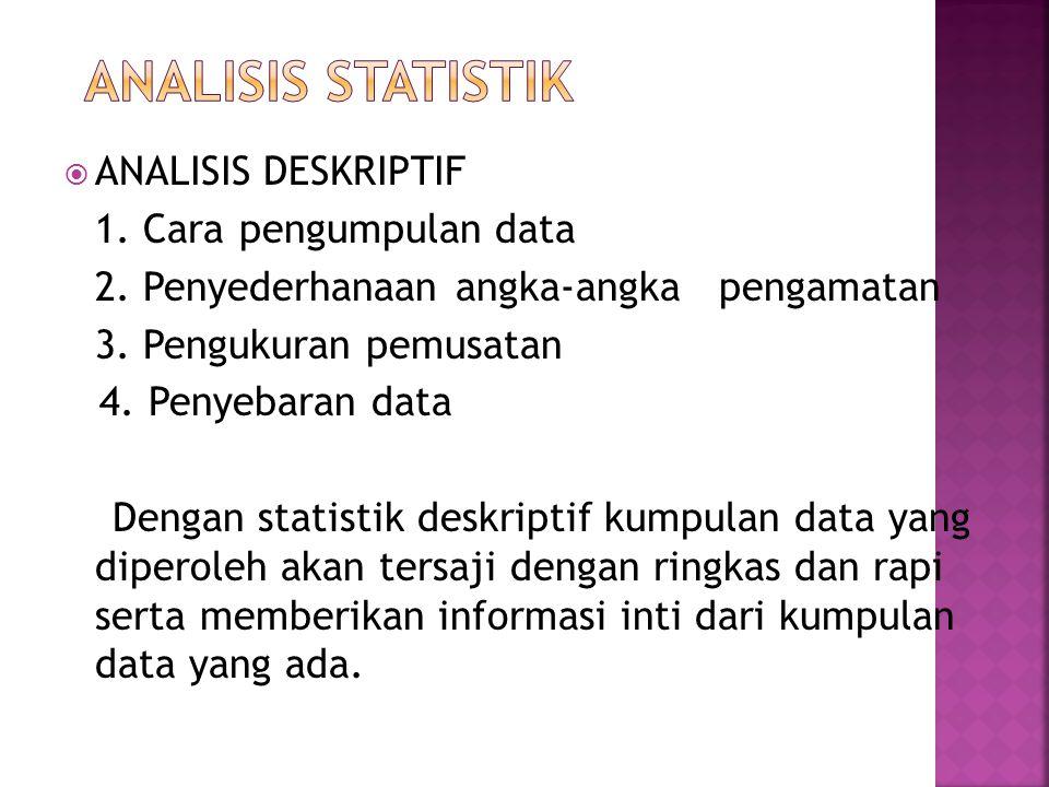  ANALISIS DESKRIPTIF 1. Cara pengumpulan data 2. Penyederhanaan angka-angka pengamatan 3. Pengukuran pemusatan 4. Penyebaran data Dengan statistik de