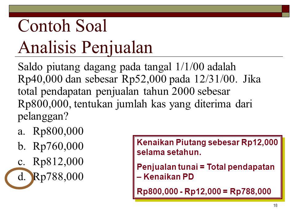 18 Saldo piutang dagang pada tangal 1/1/00 adalah Rp40,000 dan sebesar Rp52,000 pada 12/31/00. Jika total pendapatan penjualan tahun 2000 sebesar Rp80