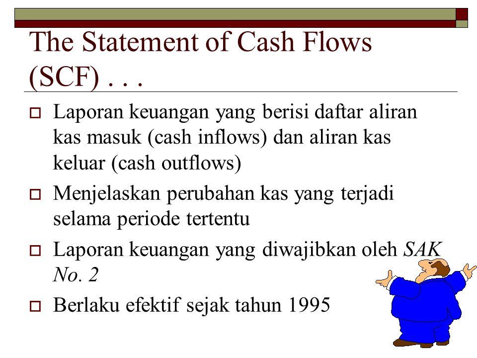 2 The Statement of Cash Flows (SCF)...  Laporan keuangan yang berisi daftar aliran kas masuk (cash inflows) dan aliran kas keluar (cash outflows)  M