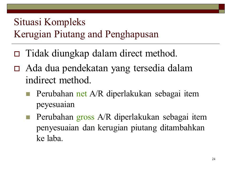 24 Situasi Kompleks Kerugian Piutang and Penghapusan  Tidak diungkap dalam direct method.  Ada dua pendekatan yang tersedia dalam indirect method. P