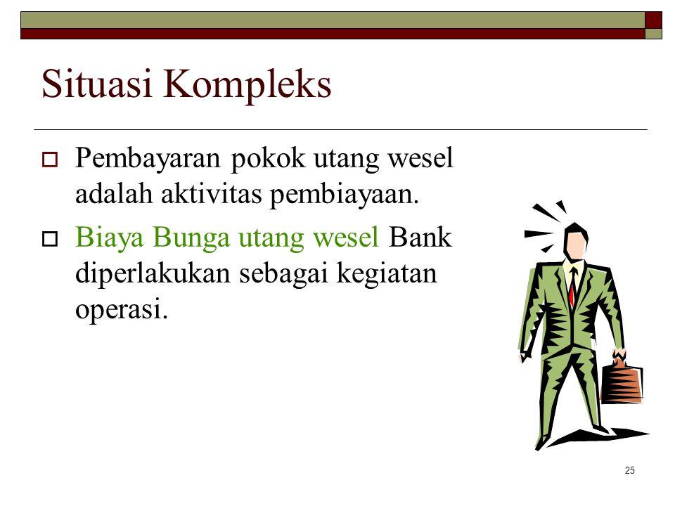 25 Situasi Kompleks  Pembayaran pokok utang wesel adalah aktivitas pembiayaan.  Biaya Bunga utang wesel Bank diperlakukan sebagai kegiatan operasi.
