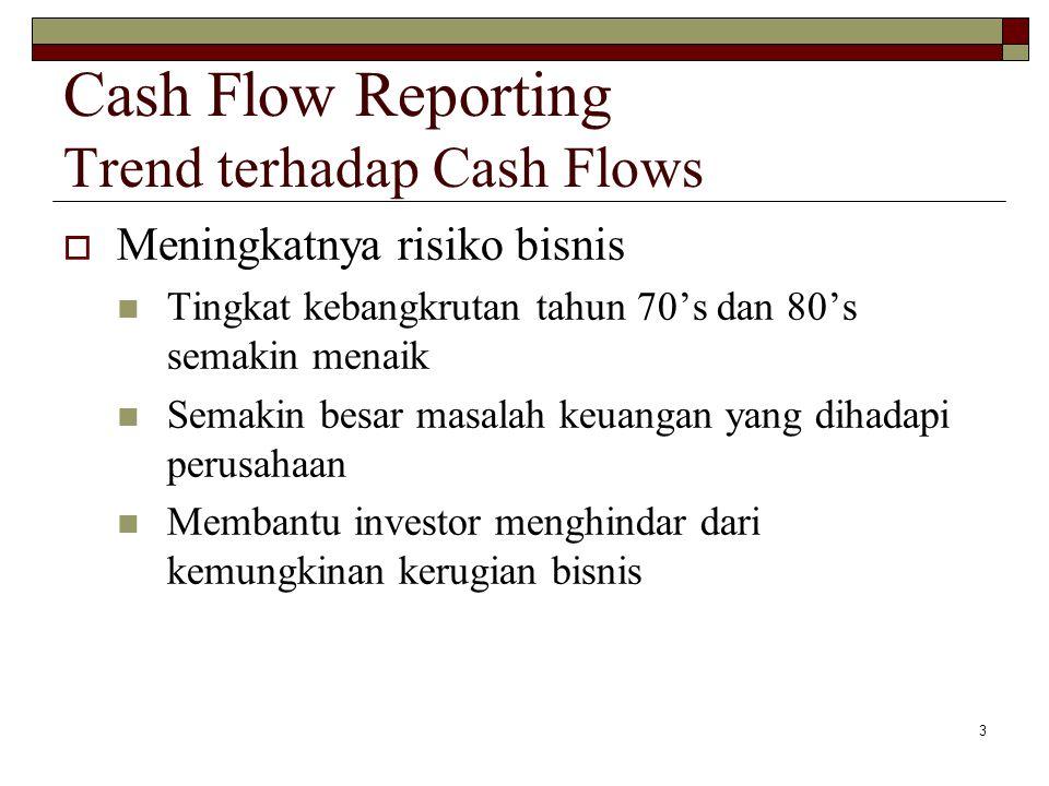 4 Cash Flow Reporting Manfaat Informasi Cash Flows  Free cash flow:  Financial flexibility Kemampuan menggunakan aliran kas untuk memenuhi kebutuhan dan kesempatan yang muncul tanpa diharapkan KAS DARI KEGIATAN OPERASI KAS UNTUK PENGELUARAN OPERASI DAN MODAL KAS UNTUK PEMBAYARAN JASA DAN UTANG - +