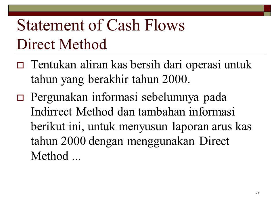 37 Statement of Cash Flows Direct Method  Tentukan aliran kas bersih dari operasi untuk tahun yang berakhir tahun 2000.  Pergunakan informasi sebelu