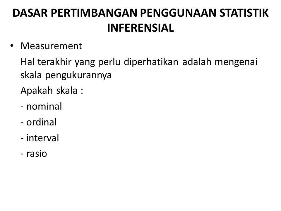DASAR PERTIMBANGAN PENGGUNAAN STATISTIK INFERENSIAL Cases Related Samples Unrelated Samples Only 2 categories More than 2 categories Only 2 categories More than 2 categories AB CD