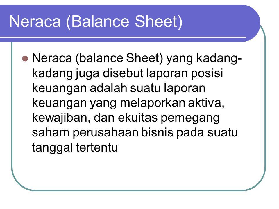 Neraca (Balance Sheet) Neraca (balance Sheet) yang kadang- kadang juga disebut laporan posisi keuangan adalah suatu laporan keuangan yang melaporkan a