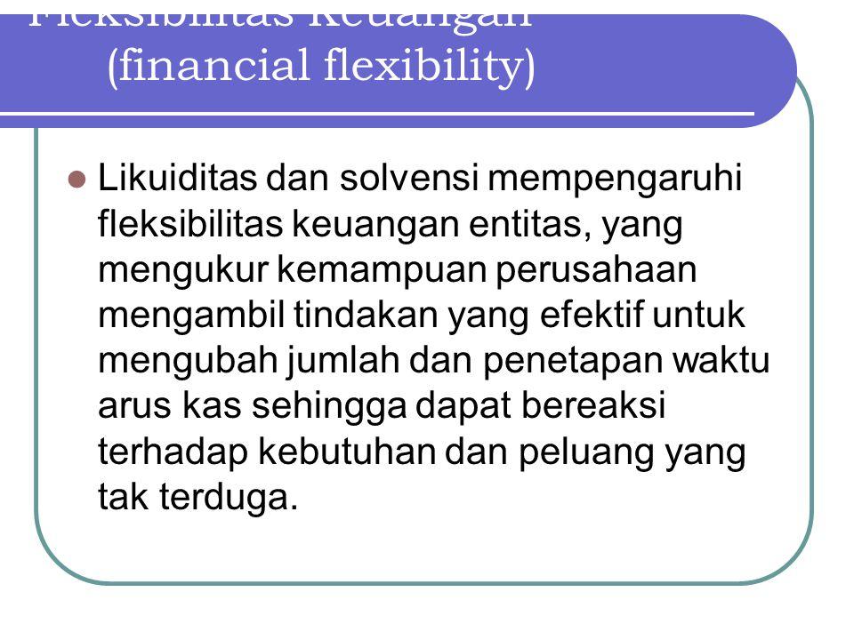 Fleksibilitas Keuangan (financial flexibility) Likuiditas dan solvensi mempengaruhi fleksibilitas keuangan entitas, yang mengukur kemampuan perusahaan