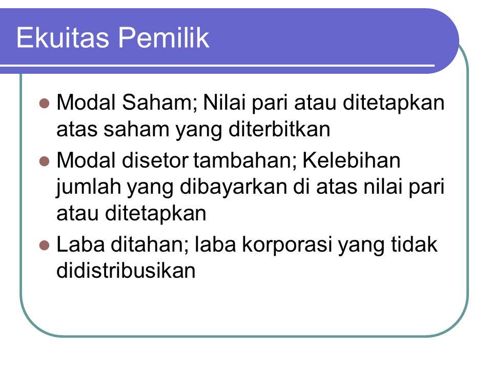 Ekuitas Pemilik Modal Saham; Nilai pari atau ditetapkan atas saham yang diterbitkan Modal disetor tambahan; Kelebihan jumlah yang dibayarkan di atas n