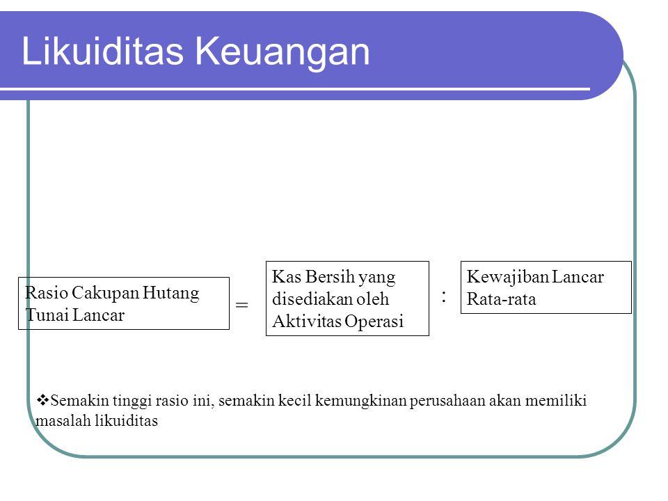 Likuiditas Keuangan Rasio Cakupan Hutang Tunai Lancar = Kas Bersih yang disediakan oleh Aktivitas Operasi : Kewajiban Lancar Rata-rata  Semakin tingg