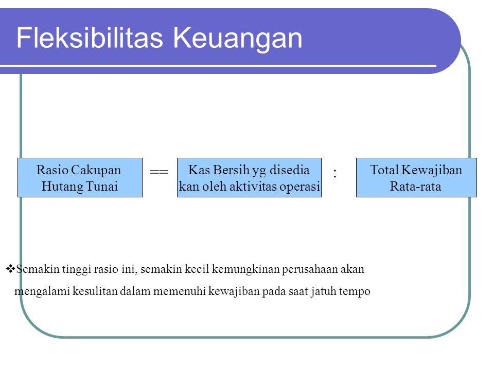 Fleksibilitas Keuangan Rasio Cakupan Hutang Tunai Kas Bersih yg disedia kan oleh aktivitas operasi Total Kewajiban Rata-rata ==:  Semakin tinggi rasi
