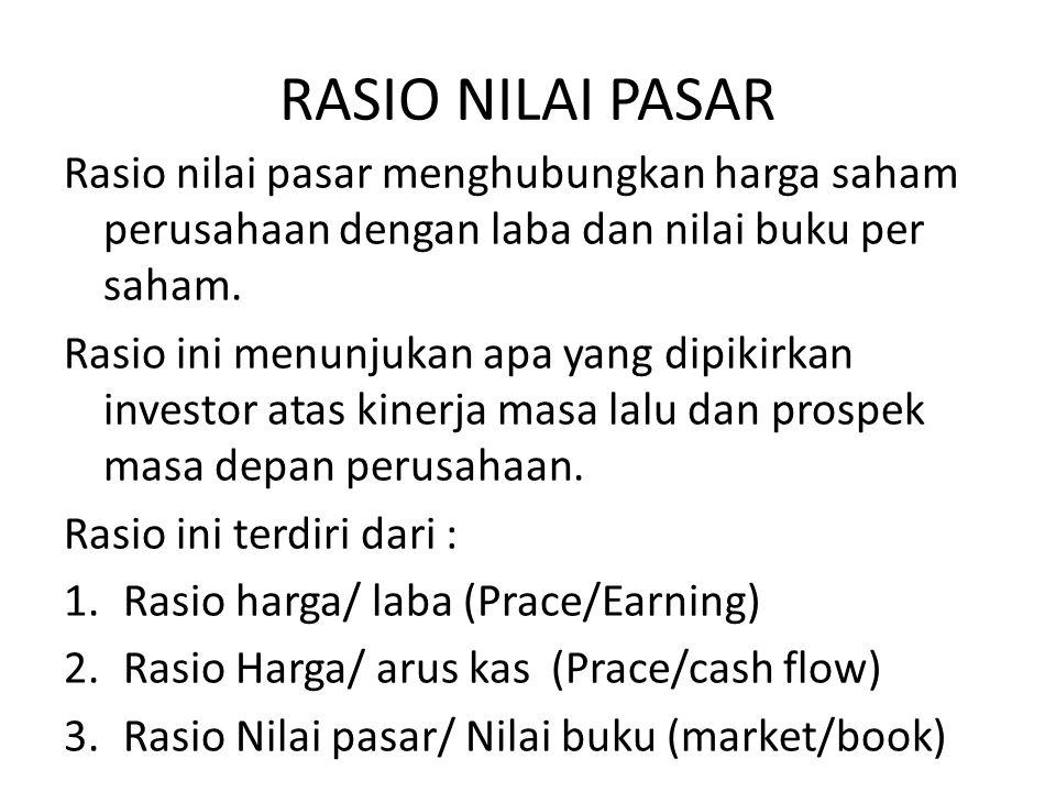 RASIO NILAI PASAR Rasio nilai pasar menghubungkan harga saham perusahaan dengan laba dan nilai buku per saham.