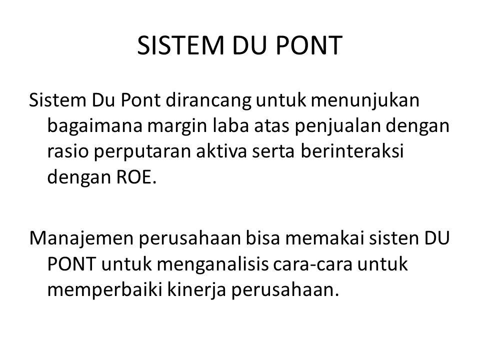 SISTEM DU PONT Sistem Du Pont dirancang untuk menunjukan bagaimana margin laba atas penjualan dengan rasio perputaran aktiva serta berinteraksi dengan ROE.